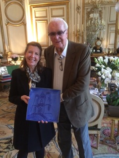 Hubert de Givenchy presented with Turnbull Pottery plate